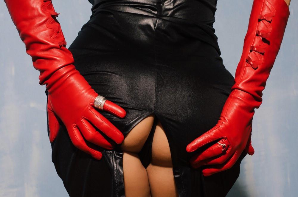 rote Handschuhe Rückansicht Nadine SIXX